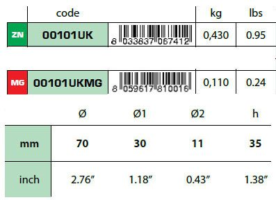 00101UK Disc Anode Technical Specifications
