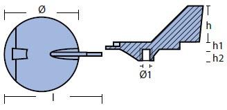 01134 Yamaha Anode Technical Drawing