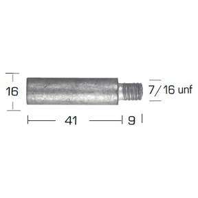 02028: Pencil Anode for Caterpillar Diameter 16mm x Length 41mm