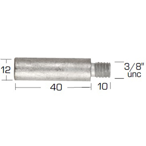 02033: Pencil Anode for Onan Diameter 12mm x Length 40mm