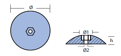 R1: 47mm Disc Rudder Anode (pair) Technical Drawing