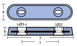 00221: 2.3kg Bolt On Plate VET Hull Anode Technical Drawing