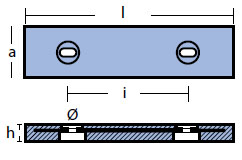 00267: 1.5kg Bolt On Plate Nautic Hull Anode Technical Drawing