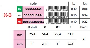"00503USA: 1"" Egg Type USA Shaft Anode X-3 size"