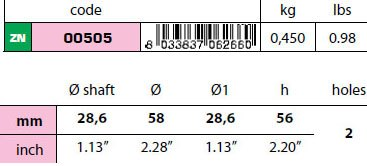 "00505: 1 1/8"" Egg Type Standard Shaft Anode size"