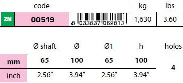 00519: 65mm Egg Type Standard Shaft Anode size