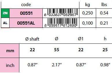 00551: 22mm Shaft Collar Anode Hydrodynamic Design size