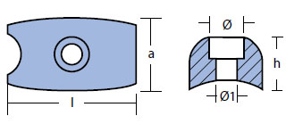 00729: Volvo Bow Thruster Plate Anode Technical Drawing