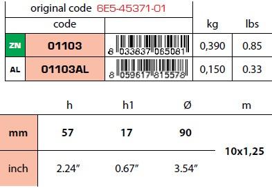 01103: Skeg Anode for Yamaha V6-60-70-75-85-90-115-130-150-175-200-225 HP size