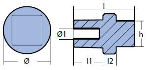 01146-1: Engine Anode 80/100 HP for Yamaha 75-90-115-150-200-225-250-300-350 HP tech
