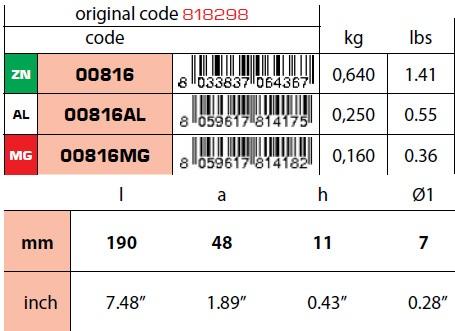 00816: Plate Anode for Mercury DA 40 HP A V6 135/150/175 Verado Technical Specifications