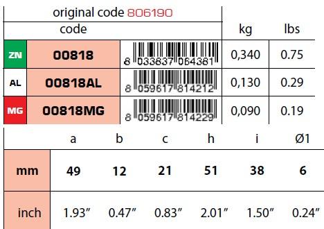 00818: Collar Anode for Piston Mercruiser Bravo Technical Specifications