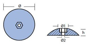 R5: 127mm Disc Rudder Anode (pair) Technical Drawing