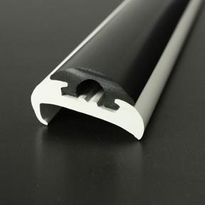 PVC 1417R White Boat Rub Rail Shown Fitted With PVC 1418 Black Insert