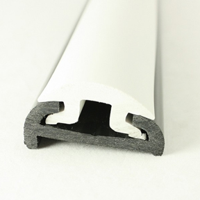 PVC 1613R Black Boat Rub Rail Shown Fitted With PVC 1614 White Insert