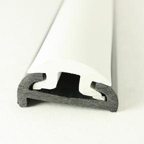 PVC 1613R Black Boat Rub Rail Shown Fitted With PVC 1614 White Insert