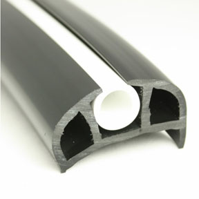 PVC 168 Black Boat Rub Rail Shown Fitted With White Insert photo angle