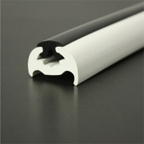 PVC 370 White Boat Rub Rail Shown Fitted With Black Insert photo angle