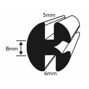 6 x 5mm Window Rubber Dimensions
