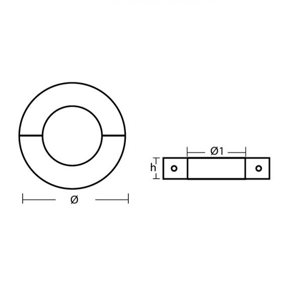 00550L range Slim Collar Anode Technical Drawing