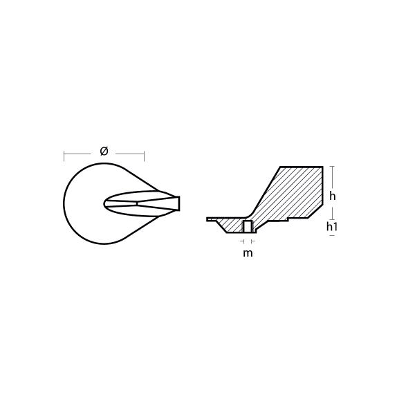 00830 Mercury standard trim tab anode technical specifications