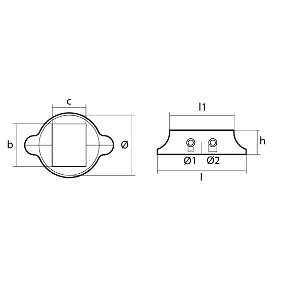 Kit1550 Split Saildrive Collar Anode for Lombardini with Stainless Steel Plate technical drawing